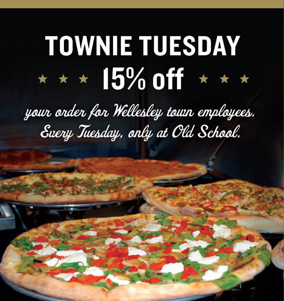 Every Tuesday, get 15% OFF your entire order for Wellesley town employees